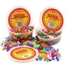 Bucket O' Beads, Striped Straw Beads, HYG6828