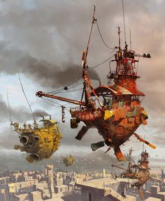 Steampunk Art by Ian McQue Steampunk Kunst, Steampunk Airship, Dieselpunk, Steampunk Diy, Steampunk Fashion, Norman Rockwell, Fantasy World, Fantasy Art, The Pirates