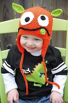 Silly Monster Crochet Hat- no pattern, inspiration only