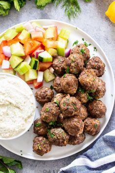 Paleo meals 8655424272617920 - These easy greek meatballs are perfectly flavorful and delicious dipped in a dairy-free paleo Tzatziki sauce! Great as an appetizer or as part of a meal over a greek salad. Paleo, and keto friendly. Tzatziki Sauce, Salsa Tzatziki, Whole Foods, Paleo Whole 30, Whole Food Recipes, Vegetarian Recipes Dinner, Keto Recipes, Healthy Recipes, Paleo Dinner