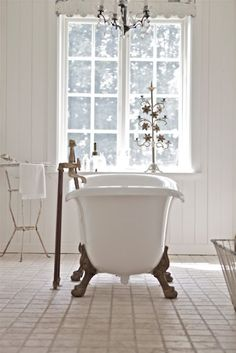 Calming all white bathroom