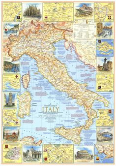 Travelers Map Of Italy Map 1970 - I would love to display this map on my wall and learn a little piece of my history every day!