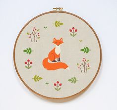 Fox Cross Stitch Pattern Modern Cute Animal Counted by Stitchering
