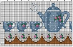 Tea theme multi functional craft pattern use for: cross stitch chart or cross… Cross Stitch Numbers, Cross Stitch Borders, Cross Stitch Designs, Cross Stitching, Cross Stitch Embroidery, Cross Stitch Patterns, Craft Patterns, Crochet Patterns, Cross Stitch Kitchen