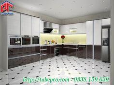 Tủ bếp Acrylic kết hợp kệ trang trí cho không gian bếp tiện nghi và hiện đại TBX055
