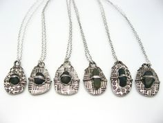 Silver Necklace with Pebble from Your Location Made to Order 648