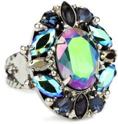 """Sorrelli """"Emerald City"""" Crystal Cluster Silvertone Adjustable Ring Sorrelli, http://www.amazon.com/gp/product/B005OUDIDM/ref=cm_sw_r_pi_alp_XVkzqb1XH8EJW"""