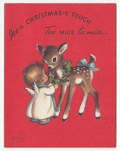 Vintage Greeting Card Christmas Deer Reindeer Angel Marjorie M. Cooper