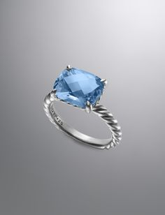 Color Classics Ring, Blue Topaz, 12x10mm | Women Rings | David Yurman Official Store