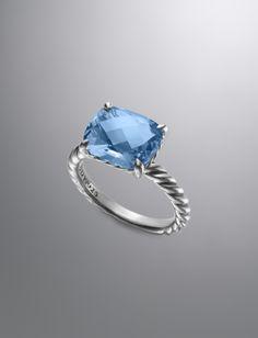Color Classics Ring, Blue Topaz, 12x10mm | Women Rings | David Yurman Official Store