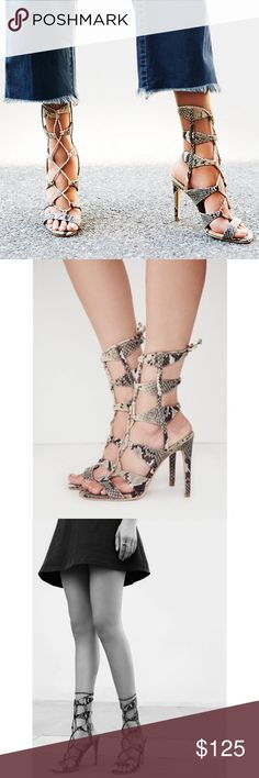 """Metallic Snakeskin Gladiator Lace Up Heel Sandals Sold Out! J/Slides Lace Up Heel at Free People. Strappy leather lace-up stilettos with a gladiator design and statement-making snakeskin texture, with metallic finish. Heel: 4.75"""" = 12.06 cm Shaft: 7.0"""" = 17.78 cm Retail $179 Free People Shoes Sandals"""