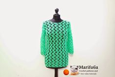 Free crochet patterns and video tutorials: how to crochet green pullover sweater tunic by mar...