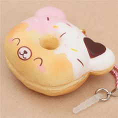 Creamiicandy bear shape pink white icing face mini donut scented squishy