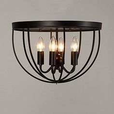 KunMai Vintage Black Metal Round Cage Ceiling Light Semi Flush Mount Rustic Fixture 4 Lights Candle Style ** Check out this great product. (This is an affiliate link) Farmhouse Flush Mount Light, Flush Mount Kitchen Lighting, Entryway Lighting, Kitchen Lighting Fixtures, Farmhouse Lighting, Rustic Lighting, Bedroom Lighting, Home Lighting, Modern Bedrooms