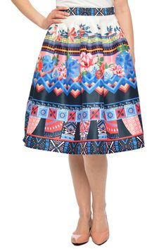 "This pleated style skirt with side zipper will be the perfect piece for Sunday brunch.  Measurements: approximately 26""L. Waist measures: small-26"" medium-28"" large-30""  Navy Aztec-Print Skirt by Jealous Tomato. Clothing - Skirts Kansas"