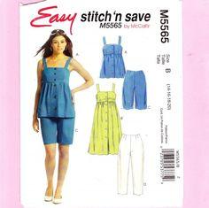 ladies_shorts_top_dress_sewing_pattern_sizes_14-16-18-20_mccalls_5565_3ae83d53.jpg (500×499)