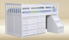 Bunk Bed With Stairs And Desk Plans - Downloadable Free Plans