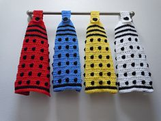 These are pretty naff, but I think I might need them anyway!  Ravelry: Doctor Who Dalek Hanging Towel pattern by Critical Stitch