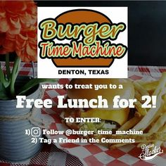 Who wants a free lunch @burger_time_machine?? East as can be to enter. Just to clarify: multiple entries are cool just of different people. & Laura Wanefalea or none of that nonsense  Deadline will be this Sunday at 9pm.  #burgertimemachine #dentonslacker #freestuff #lunch #freelunch #freeburgers #denton #dentontx #dentontexas #dentoning #dentonite #thedentonite #wedentondoit #wddi #doingitdenton #dentonproud