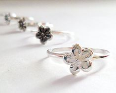 Sterling Silver Flower Ring, Made to Order Daisy Ring