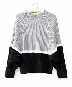 Grey Batwing Sleeve Contrast Black Sweater pictures