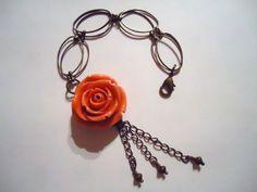 Brass Bracelet Brass Jewelry Coral Flower Artisan by cdjali, $18.00