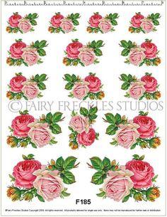 Item F185 Decal Victorian Scrap Pink Rose Decals