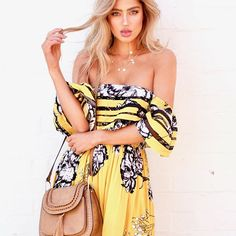 This dress is to die for 🔥🔥🔥KARLIE off Shoulder Maxi in Golden Lillies | $99 teamed with our Cavo bag @ginghamandheels ✨➰✨