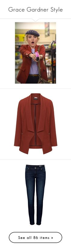 """""""Grace Gardner Style"""" by love-ana ❤ liked on Polyvore featuring outerwear, jackets, blazers, open front blazer, red blazer, open front jacket, red jacket, jeans, pants and bottoms"""