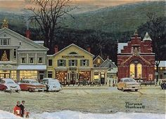 'Main Street, Stockbridge' (1967) American painter Norman Rockwell (1884-1978). The town of Stockbridge, Massachusetts famous for Norman Rockwell's painting of the village during the holidays, is a magical New England setting as well as that of small town America. Rockwell lived and had his studio in Stockbridge from 1953 to his death in 1978. Norman Rockwell Christmas, Norman Rockwell Art, Norman Rockwell Paintings, Small Town America, Pierre Auguste Renoir, Paul Gauguin, Christmas Pictures, Christmas Poster, Christmas Art