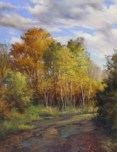 Birches Along the Trail by Andrew Orr Oil ~ 16 x 20