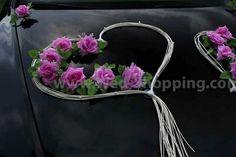 Décoration voiture balai - Coeur en rotin et roses rose