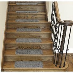 Ottomanson Comfort Collection Soft Solid (Non-Slip) Plush Carpet Stair Treads, 9 inch x 26 inch, 7 or 14 Pack, Gray