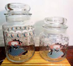 Vintage Kitty Cats Wearing Blue Polka Dot Dresses Glass Storage Jars 1988 CHD