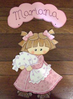 Placa para porta menina com travesseiro by Karín Artesanato, via Flickr