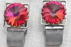 Vintage Pink Watermelon Rivoli Silver Plated Mesh Toggle Cufflinks are reminiscent of Swarovski crystals with amazing colors.  To more closely inspect the photos, simply click on the binocular icon on