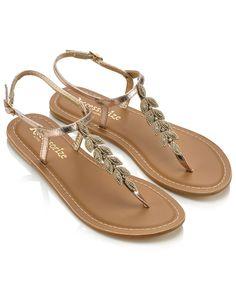 Lara Leaf Sandals | Gold | Accessorize - £35.00