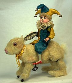 Antique German French Windup Hopping Easter Rabbit with Bisque Jester C1910 | eBay