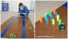 Pencil erasers and a marble make a surprisingly addictive at-home bowling game.