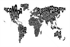 Typographic Text World Map Black - Fotobehang & Behang - Photowall
