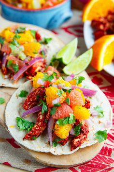 Pollo Pibil Tacos with Citrus Salsa Recipe : Slow baked pulled chicken tacos in a tasty orange and annoto/achiote sauce with pickled red onions and a fresh citrus salsa! Tasty Tacos Recipe, Salsa Recipe, Citrus Recipes, Kraft Recipes, Orange Recipes, Mexican Dishes, Mexican Food Recipes, Ethnic Recipes, Slow Cooker Recipes