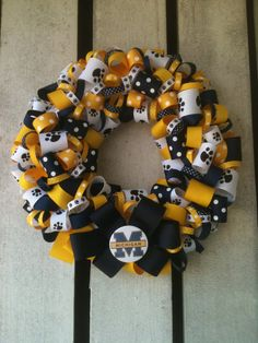 University of Michigan Ribbon Wreath by TheEducatedOwl on Etsy. , via Etsy.
