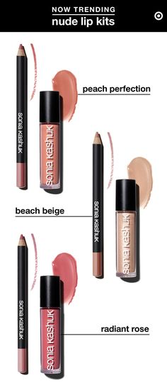 Lip kits. They're the pencil-lipstick power couples for pouts. Here are a few of our fave DIY combos, upgraded with glosses for summer, at a price you can lock lips with. To get the look, first line lips with a Sonia Kashuk Lip Definer pencil, extending just past your natural lip line for a fuller pout. Then color in your lips with the pencil. This acts as a primer to help the gloss go on evenly & stay on longer. Top with Sonia Kashuk lipgloss for subtle shimmer & sophisticated, grown-up…