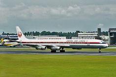 Japan Airlines-JAL (JP) Historic fleet, Douglas DC-8-61 JA8041 aircraft, named ''Asahi'' skating at  Singapore Changi International Airport. 29/03/1975. (Asahi=a city in northern Chiba prefecture. Means: morning sun).