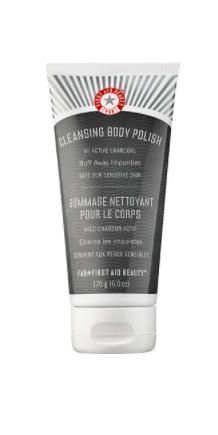 "First Aid Beauty Cleansing Body Polish with Active Charcoal: Dr. Engelman loves this clay-based scrub for its moisturizing powers. ""The gentle treatment buffs away dry skin and dramatically refines skin texture, including bumpy patches caused by keratosis pilaris,"" she says. She recommends applying the polish before shaving to prevent those pesky skin bumps and dry spots from forming."