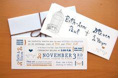 Illustrated Rustic Love Birds Wedding Invitation from Etsy $2.50