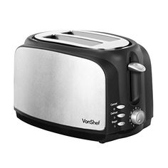 VonShef 700W 2-Slice Wide Slot Toaster with High Lift Lever