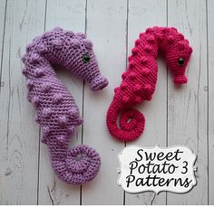 "This crochet pattern comes with complete instructions for this adorable Pygmy Seahorse Stuffy. My favorite part about making this pattern is that it is crocheted as one piece! That is right, no sewing involved! Also, the pattern can be made in different yarn weights. The purple sample was made in worsted (#4) weight yarn and is 9 inches tall. The pink sample was made in light (#3) weight yarn and is 7"" tall. This little seahorse is sure to be very loved!"