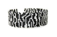 Zebra Print in Black and White Handmade Bracelet #194    This beautiful handmade bracelet, named Zebra Print, was made using a brick stitch and