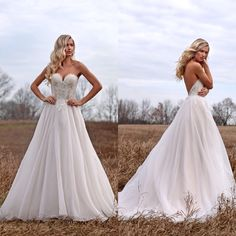 A Line Backless Sweetheart Appliques Formal Dresses Wedding Bridal Gowns